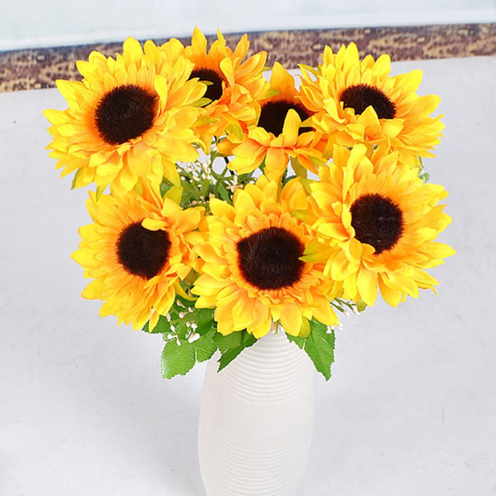24Pcs Artificial Sunflower Flower Head Wedding Home Party Hair Clip Wreath Decor Fashion thumbnail