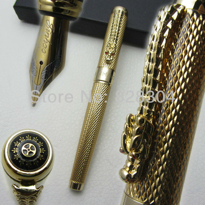 Fountain Pen Wholesale jinhao noble gold dragon medium nib ink / steel / metal /  gifts / pen New box italic nib art fountain pen arabic calligraphy black pen line width 1 1mm to 3 0mm