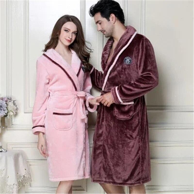 Autumn Winter New Flannel Robes Lovers Sleepwear Women Men Warm Dressing  Gown Bathrobe Coral Fleece Robe Femme Camison Mujer-in Robes from Underwear  ... e03f13752