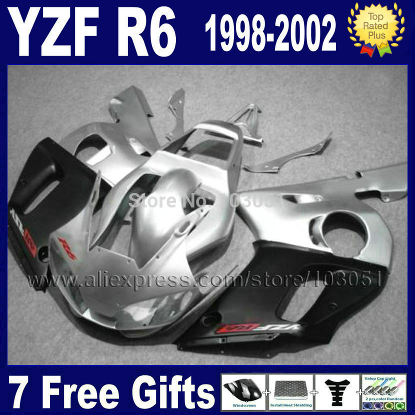 Custom Road moto fairing for YAMAHA YZFR6 1998 1999 YZF600 02 00 99 98 silver matte black YZF R6  2000 2001 2002 fairings 7gift 1999 2002 land rover discovery ii 2 chrome trim for grill grille 2000 2001 99 00 01 02