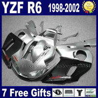 Custom Road moto fairing for YAMAHA YZFR6 1998 1999 YZF600 02 00 99 98 silver matte black YZF R6 2000 2001 2002 fairings 7gift