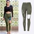 2016 Nueva Sexy Ripped Jeans con Agujero Más El Tamaño de Cintura Alta Jean Flaco Jeans gastados Mujeres Ejército Verde Talla Alta Denim Pantalones