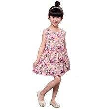 Цветок Девочки Платья Летний Пляж Мода Детская Одежда Случайный Принцесса Дочь Sleevess Цветочные Детская Одежда для Девушки пастырской стиль