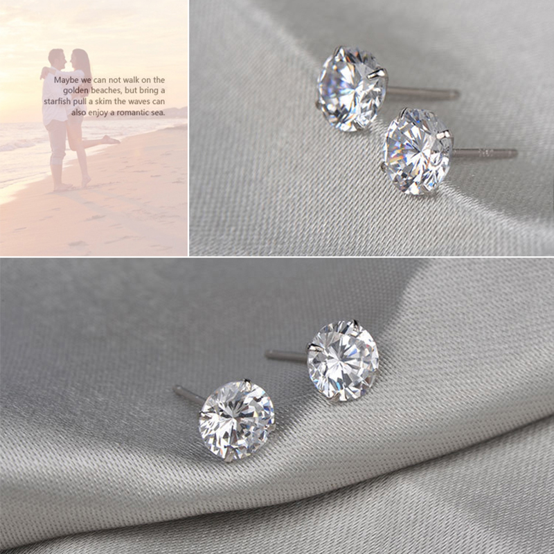 LESF 925 Sterling Silver Stud Earrings For Women 1 25 ct Classic Four Prong Zirconia Earring Wedding Engagement Bridal Jewelry in Stud Earrings from Jewelry Accessories