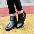 Spring and Autumn Women Boots PU Leather Fashion Ankle Boots Women's Boots Casual Shoes Zipper adult shoes Big size US 4-15