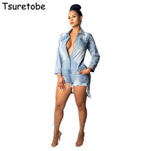Tsuretobe Ripped Shirt Denim Playsuits Women Spring Casual Long Sleeve  Elegant Short Jumpsuit Loose Fashion Jumpsuit da5ba984eaed