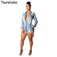 Tsuretobe Ripped Shirt Denim Playsuits Women Spring Casual Long Sleeve Elegant Short Jumpsuit Loose Fashion Jumpsuit Rompers