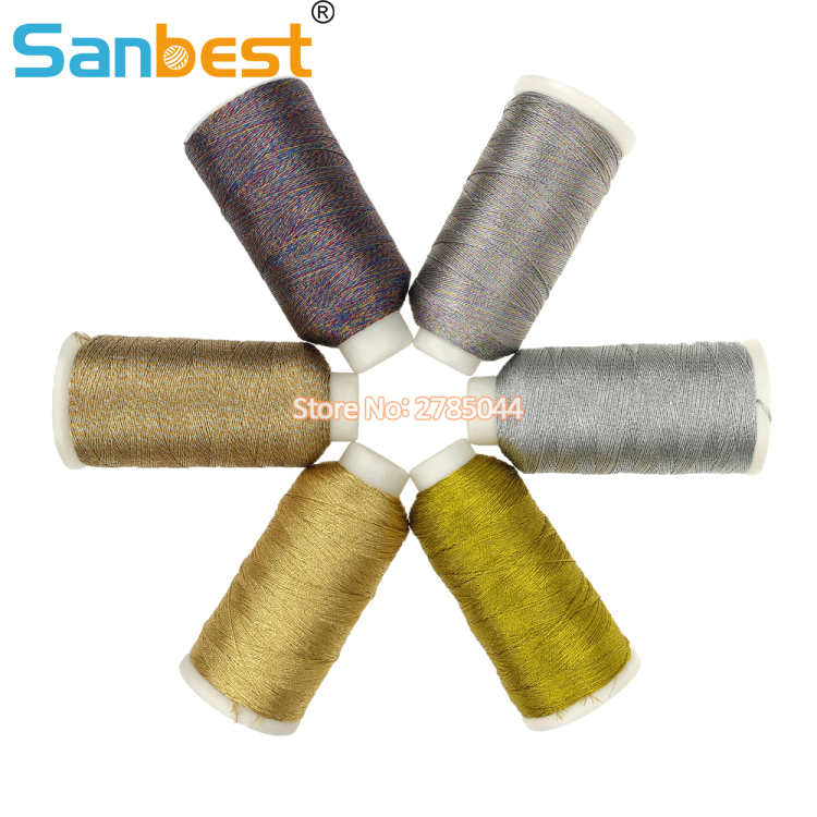 Sanbest 6 Strands Metallic Gold Silver Colorful Bright Shiny Effect Jewellery Weaving Thread DIY Crafts String Cross Stitch