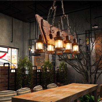 Vintage Solid Wood LED Pendant Lights Personality Old Wood Dining Room Cafe Bar Decor Hanging Lamp Lighting Suspension Luminaire