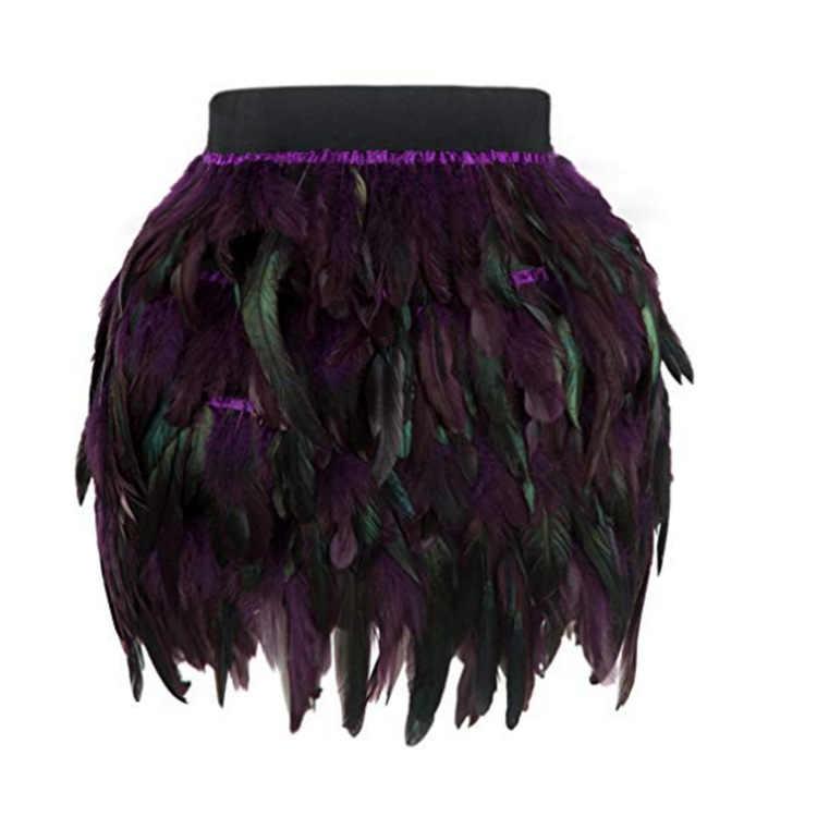 Faldas Mujer Saia Longa spódnica trzy czwarte w czasie rzeczywistym naturalne Tutu kobiet darmowa wysyłka 2019 pióro ulicy styl nieregularne