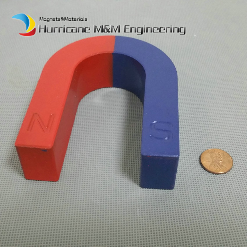 1pcs Toy Experiment Magnet U Type 100x85x32 mm Horseshoe 3.4kg Pulling blue red / Toy magnet Magnetic Teaching Tool magnet toy bars