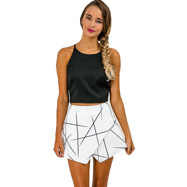 SH89 Mujeres Blanco Sexy Wrap Ángulo Origami Asimétrico Dobladillo Estampado Geométrico Pantalones Cortos Para El Verano Nuevo 2016 Tamaño S-XL
