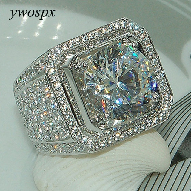 YWOSPX Luxury Full Crystal Big Stone AAA Cubic Zirconia Rings For Men And Women