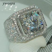 YWOSPX lujo de cristal de gran piedra AAA Cubic Zirconia anillos para hombres y mujeres Metal plateado Zircon anillo SZ 6-13 Y40