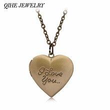 2af996cfaf79 Joyería de qihe oro bronce grabado te amo corazón Locket collar cumpleaños  dulce hija boda novia regalos