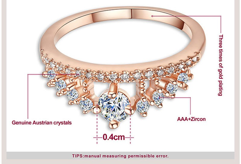 Engagement Party Ring New Fashion Crystal Rhinestone Crown Rings For Women Party Cute Elegant Luxury Sliver Plated Rings 5