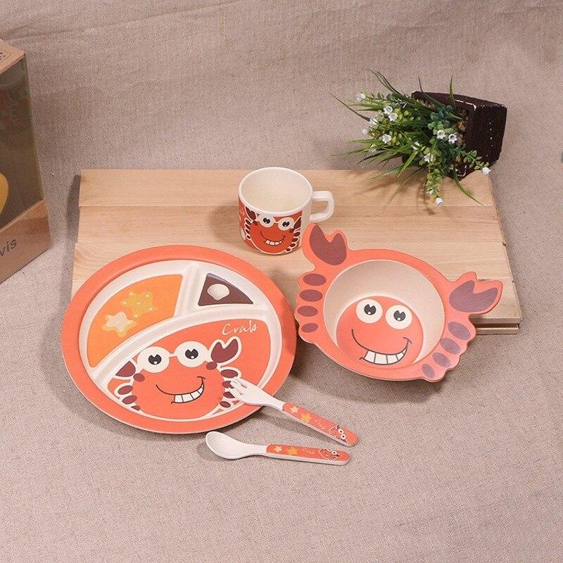 नई 5 pcs / set पशु केकड़ा बच्चे प्लेट धनुष कप कांटे चम्मच खाने के बर्तन सेट सेट, 100% बांस फाइबर बच्चे बच्चों के बर्तन सेट