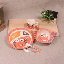 new 5pcs/set Animal crab baby Plate bow cup Forks Spoon Dinnerware feeding Set,100% bamboo fiber Baby children tableware set