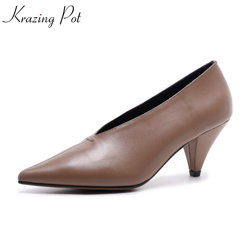 Фотография 2018 Krazing Pot new cow leather high fashion pointed toe shoes high heels simple style office lady mature soft pumps women L06