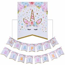 Long lanh Unicorn Chúc Mừng Sinh Nhật Banner Baby Shower Giấy Flags Birthday Party Decorations Kids Unicorn Đảng Suppilies(China)