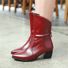 Size 34-43 Spring Autumn Women Ankle Boots Zip Pointed Toe Leather Boots Square High heeled Fashion Winter Warm Snow Boots Shoes