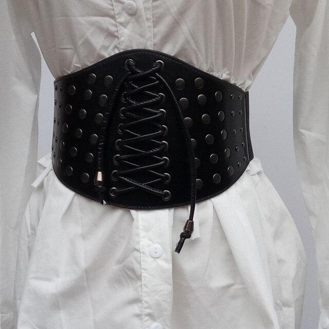 f114ea6b7e New brand desgin women s ultra wide belt adjustable slim corset body shaper black  faux leather retro elastic rivet Weave belts