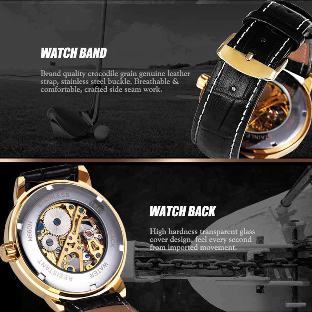 Forsining 3d شعار تصميم الجوف النقش الأسود الذهب حالة جلدية الهيكل العظمي الساعات الميكانيكية الرجال العلامة التجارية هيرين Horloge