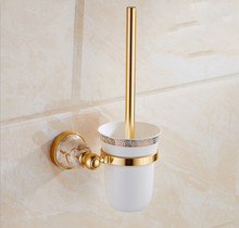 Toilet Brush Holder,Gold Plated Toilet brush Bathroom Products Crystal Metal Toilet Brush Holders