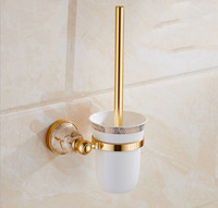 Toilet Brush Holder Gold Plated Toilet Brush Bathroom Products Crystal Metal Toilet Brush Holders