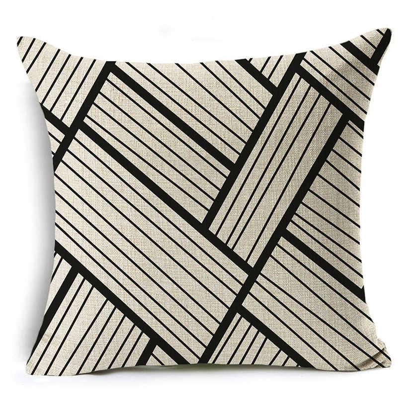 WZH черный белый простой стиль наволочки 45x45 см Льняные Декоративные Чехлы для диванных подушек наволочка