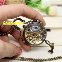 Antique Vintage Glass Ball Bull Eye Necklace Pendant Chain Quartz Pocket Watch Transparent Glass Round Shaped Dial Tassel Clock