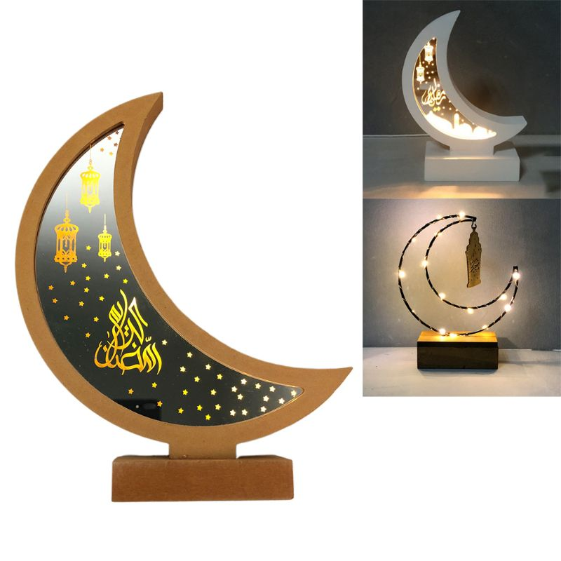 Ramadan Eid Mubarak Wooden Ornament Moon Lamp LED Night Light Islam Mosque Muslim Festival Decoration