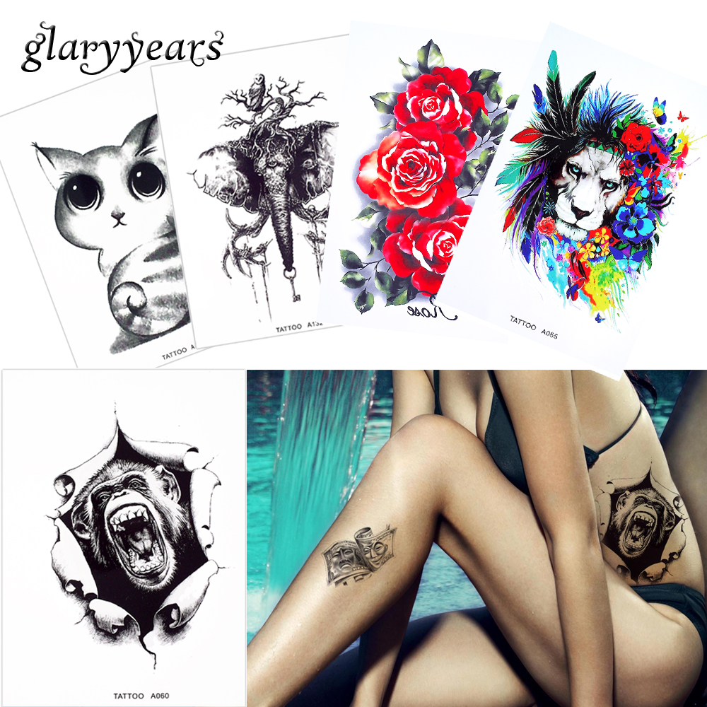 Us 078 30 Offglaryyears 42 A Wzory 1 Arkusz Akwarela Rysunek Ciała Zwierzęcia Tatuaż Czarny Słoń Smok Tymczasowy Tatuaż Naklejki Sztuki Mody W