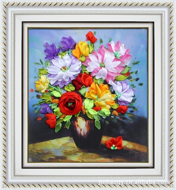 Blooming flower vase set 3d ribbon embroidery kit satin silk blooming flower vase set 3d ribbon embroidery kit satin silk painting handcraft kit diy handmade needlework mightylinksfo
