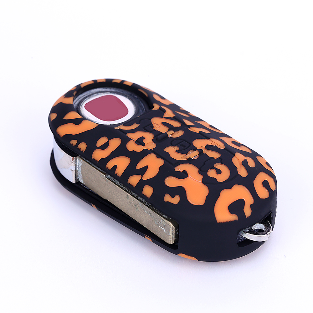 Flip Car Key Cover Case Fob Silicone Key Protect Bag 3 Button For Fiat 500 500l Abarth Panda Punto Bravo Car Styling