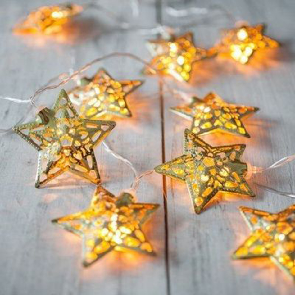 Novelty metal gold star shape Battery powered String Lights led, Holiday Festival Decor Lights, girls home room light decoration