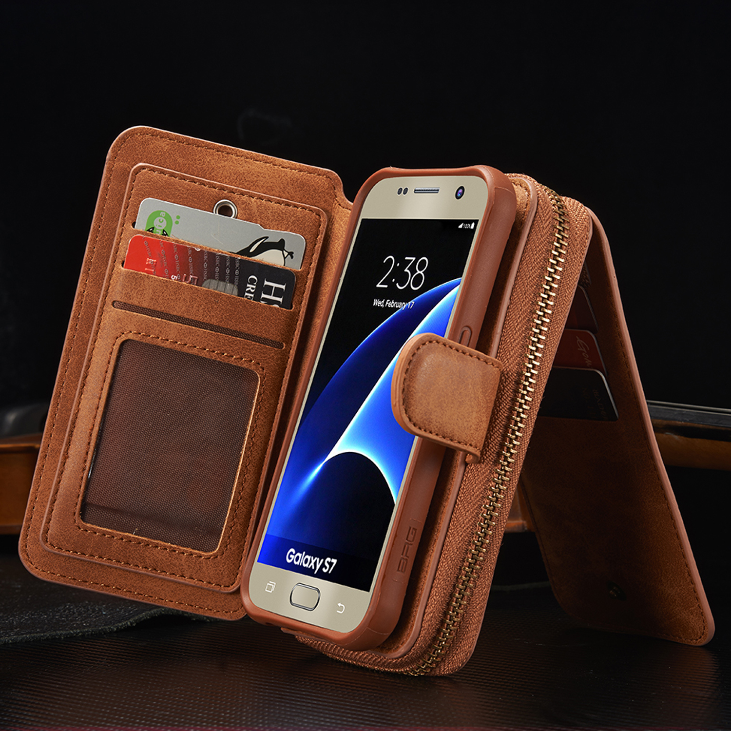 magnetic 2 in 1 leather zipper wallet card slot phone case