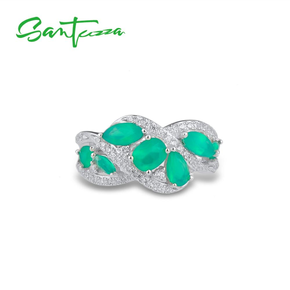 Image 2 - SANTUZZA Silver Rings For Women Pure 925 Sterling Silver Pear  Green Chalcedony Sparkling Trendy Party Ring Fine JewelryRings   -