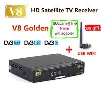 Sentou livre v8 ouro combo usb wi-fi receptor de satélite dvb-t2 dvb-s2 + c powervu receptor de satélite iptv youtube livre sat v8 pro