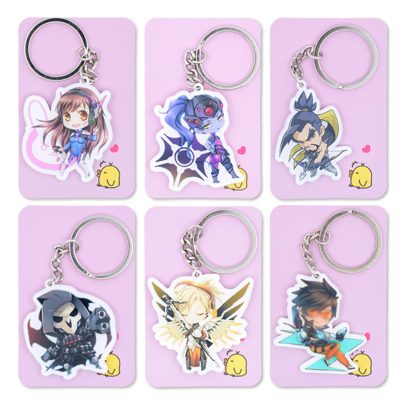 15 Styles OW Keychain Tracer Reaper Widowmaker Keyrings Key Chain Hot Sale Custom made Game Key Ring PSS4T5