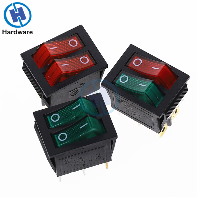 KCD2 Double Boat Rocker Switch 6 Pin On-Off With Green Red Light 20A 125VAC/ 16A 250V
