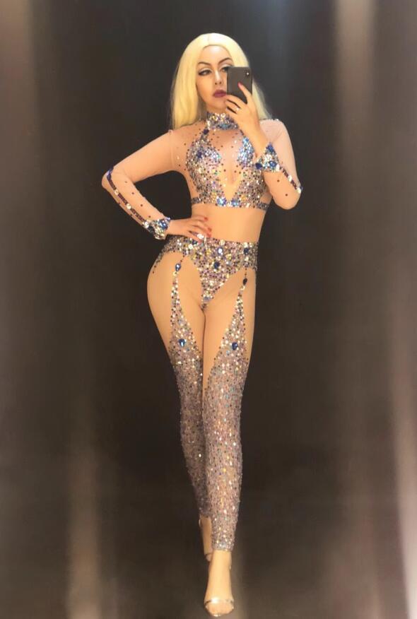 Sexy Nu Célébrer Femmes Discothèque Balle Strass Mesh Multicolore Chanteuse Jumpsuit Costume Anniversaire Salopette Dj Volante qvqPrtw8n