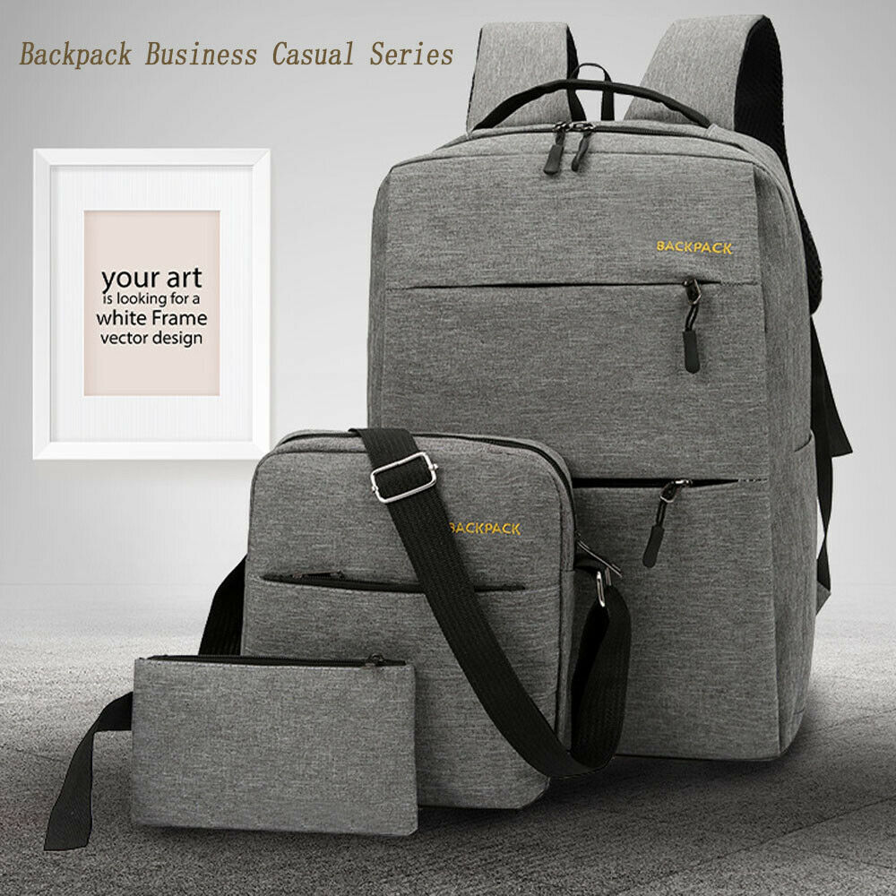 Anti-theft Men's Laptop Backpack Business Travel Multi-function Canta School Bag USB Charging Interface Shoulder Bag3 Piece Set