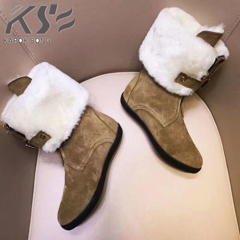 Новые зимние сапоги, Роскошные Дизайнерские теплые сапоги из овечьей кожи и толстой шерсти, женская обувь, модные теплые зимние сапоги из на