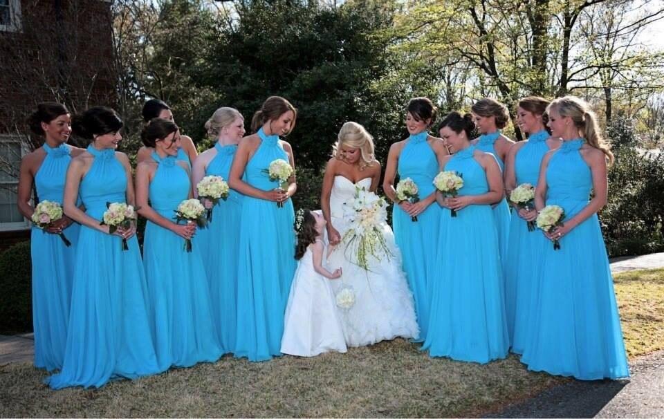 Blue chiffon long   Bridesmaid     Dresses   2015 Halter Pleat high neck Vestidos De Festa Longo a-line flowers Party   Dress
