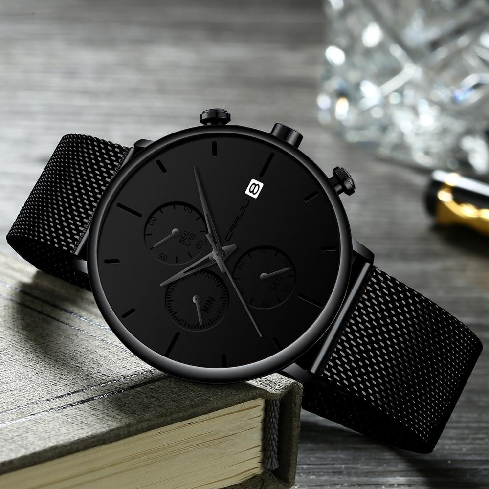 CRRJU Watches 2019 New Sport Military Men Watch Top Brand Luxury Black Steel Strap Wristwatch Relogio Masculino montre homme