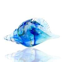 H&D Large Glass Conch Sea Shells Hand Blown Glass Animal Sculpture for Home/Office/Bookshelf Modern Decoration