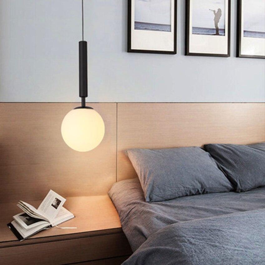 Nordic pojedyncze głowy szkła żyrandol oświetlenie nowoczesne LED lampy wiszące salon lampki nocne sypialnia restauracja dekoracji oprawy oświetleniowe
