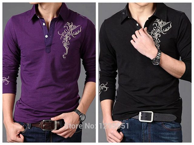 b5274717 White Purple Black Men Long Sleeved Polo Shirt Flower Embroidered Cotton Casual  Polo Shirt Asian Size M-4XL