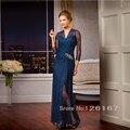 Azul Royal Mãe dos Vestidos de Noiva 2017 Best Selling estilo Longo Vestido de Noite de Renda Beading mulheres Vestido elegante Mãe CGM31